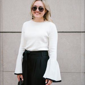 Halogen White / Black Bell Sleeve Sweater
